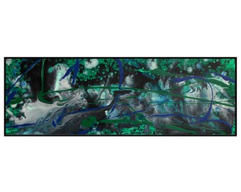 Organic Original Abstract Art Biology Inspired Long Painting Green Blue Black White Canvas Life Concept Artwork Robert McConvey