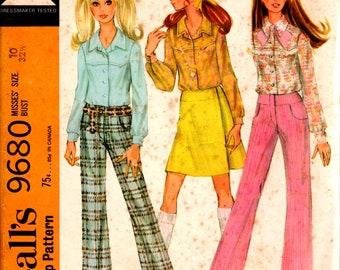 1969 Blouse pour jeune femme, pantalon et envelopper 9680 taille 10 buste de jupe McCall 32 1/2