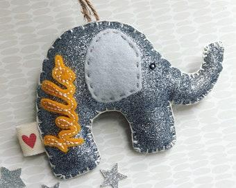 Elephant decoration- personalised elephant, hanging decoration, new baby gift, baby boy, baby girl, nursery decor