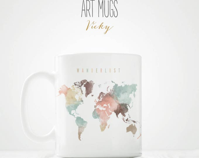 Featured listing image: Wanderlust World Map Coffee Mug - ArtPrintsVicky.com