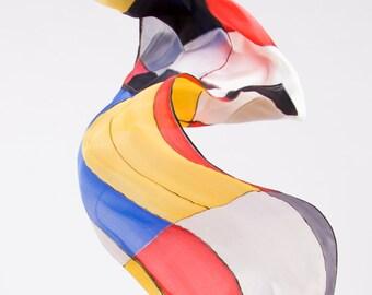 Mondrian silk scarf, Foulard silk, Digital printing, Yellow, Blue, Red, silk fabric