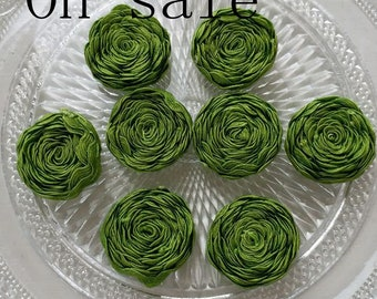 8 Handmade Ribbon Flower Green MY-751-02 Ready To Ship