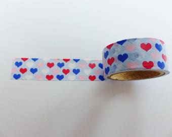 masking tape heart red blue and pink washi 15 mm wide and 3 meters