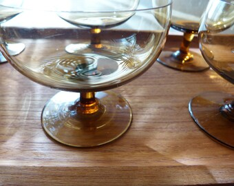 Vintage tawny, amber glass champagne, sherbet glasses