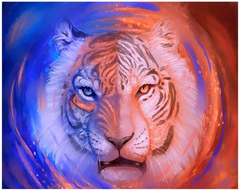 """Face of Fire and Ice 5X7"""" Signed Digital Tiger Art Print"""