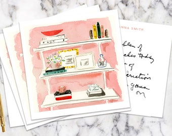 Blush Bookshelf Stationery