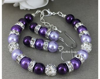 Shades of Purple Bracelet Purple Pearl Bracelet Bridesmaid Gift on a Budget Pearl Jewelry Pearl Bracelet Purple Bracelet Maid of Honor
