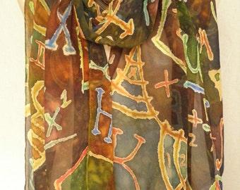 Math/Physics Chalkboard Doodles - Large Hand Painted Silk Chiffon Scarf