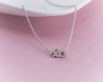 Sterling Silver XO  Necklace,  XO Pendant, Sterling Silver,   Sweetheart Necklace, Hug and Kiss Motif,  Everyday Necklace, bridal Wedding