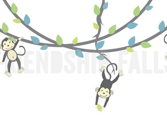 Monkey Vine Wall Decal, Hanging Monkey Vines Wall Decal, Monkey Wall Decal, Nursery Wall Decal, Friendship Falls, Nolo Scene