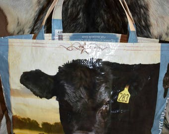 Recycled feed sack w/Angus Black Bull and calves tote/bag/purse/shopping bag