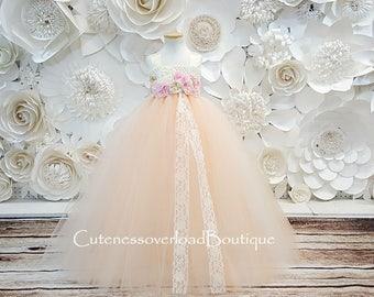 Peach Tutu Dress-Peach Flower Girl Tutu Dress-Peach Tutu Dress.Peach Wedding Tutu Dress-Peach Dress-Peach Bride Dress-Peach Party Dress.
