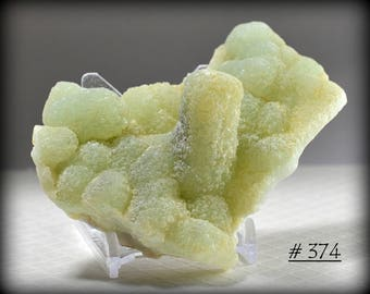 Very Cool, Green/Yellow Botryoidal Prehnite, with Quartz - Mineral Specimen from Yunnan Province, China