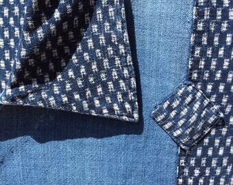 Wonderful Japanese Indigo Dyed Cotton  KASURI & Denim Handmade Shirt BORO