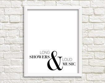 Bathroom Art, Black White Wall Art, Bathroom Sign, Bathroom Wall Decor,  Black