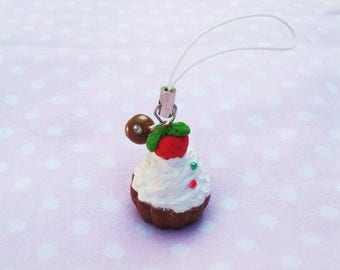 Strap, keychains, Cupcake, strawberry, whipped cream, Pearl