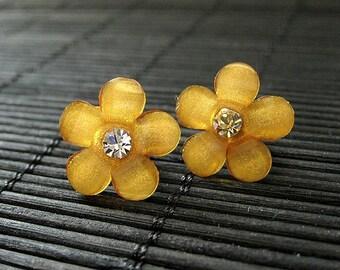 Orange Daisy Flower Earrings. Rhinestone Flower Earrings on Bronze Stud Earrings. Handmade Jewelry.