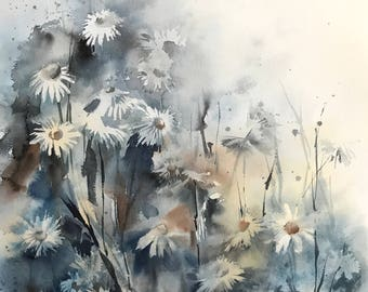 Daisy Flowers ORIGINAL Watercolor Painting, Abstract Botanical Art, Abstract Realism, Floral Painting, Blue Flowers Painting
