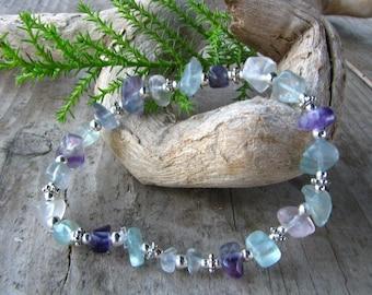 Fluorite Bracelet , crystal stone healing jewelry, Bohemian