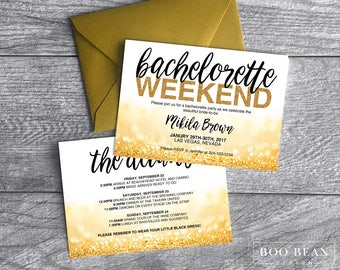 Gold Glitter Bachelorette Invitation | Bachelorette Invitation | Bachelorette Party | Weekend party | Hens Night | Itinerary