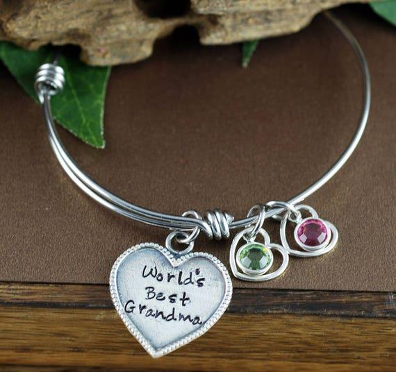 Personalized Grandma Bracelet, World's Best Grandma, Grandma Jewelry with Birthstones, Grandmother Bracelet, Gift for Her, Gift for Grandma