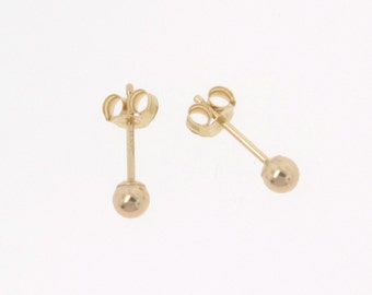 Tiny Ball Stud Earrings, 3mm  - 14k Gold, The Tiniest Ear Studs You Will Ever See - Yellow Gold Or White Gold One Pair