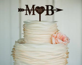 Initials Heart and Arrow Cake topper with date Rustic Cake Topper Engagement Cake Topper Wedding Decoration Gold Cake Topper Wood Silver