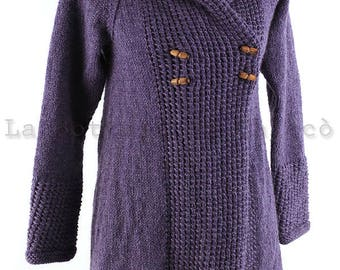 Handmade wool and alpaca jacket, knitted jacket, ALL COLORS AVAILABLE, woman hoodie, jacket with hood, knitwear, knitted jumper.