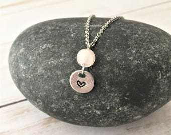 Stamped Heart Necklace, Rose Quartz Necklace, Gemstone Necklace, Love Necklace, Crystal Necklace, Layering Necklace, Healing Crystal