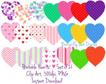 Valentine Clipart, PNG Clip Art Hearts, 21 Printable Hearts, Instant Download