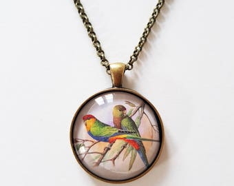 Red-capped parrots, 30mm round pendant in silver or antique bronze, includes complimentary chain