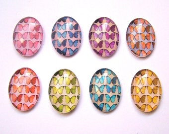 8 paper butterflies multicolores18x25mm glass cabochons