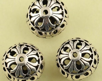12mm 925 Sterling Silver Beads , hollowed silver bead/ spacer, Antique Silver Beads