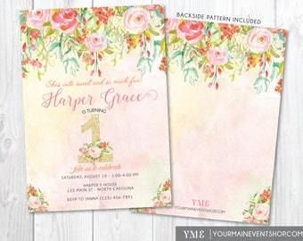 Watercolor Flower 1st Birthday Invitation • Whimsical Floral First Birthday Invite • Glitter Girl Invitation Printable • Spring Summer