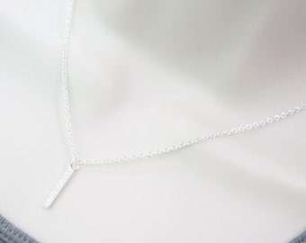 Cz Horizontal Bar Necklace
