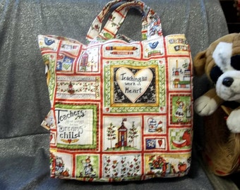 Cotton Shopping Tote Bag, Teaching, Work of Heart Print