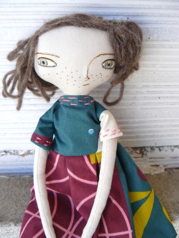 Art doll with alpaca and silk hair a. 32 cm.