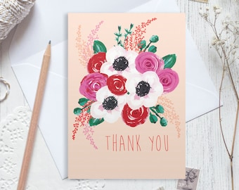 Thank you card, appreciation card, thanks card, floral thank you card