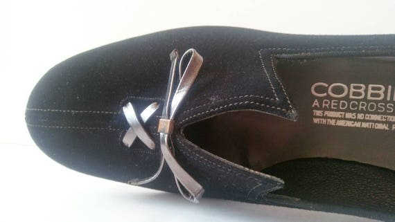 Up by Black Velour Deadstock 8 Black Vintage Flats Scissor Toe Size Flats Cross Cobbies Narrow 50s Gunmetal Black 1950s Lace Flats Red Shoe a4nT41Y