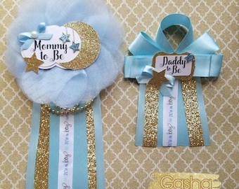 Twinkle Twinkle Baby Shower Corsage/ Twinkle Twinkle Little Star Theme/ Mommy To Be Pin/ Daddy To Be Pin/ Baby Shower Corsage/ Baby Boy