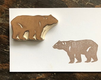 Bear Hand Carved Rubber Stamp