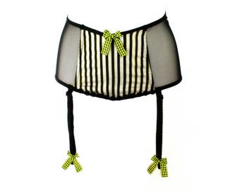 Silk and Tulle Black and Yellow Waist Cincher with Garter belt