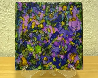 "Spring Bouquet - Alcohol Ink Painted Ceramic 6""x6"" Tile"