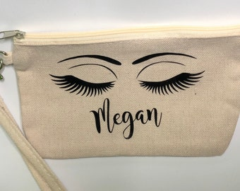 Personalized cosmetic zipper pouch. Essential oil zipper pouch. Make Up Zipper Pouch. Canvas Zipper Pouch.