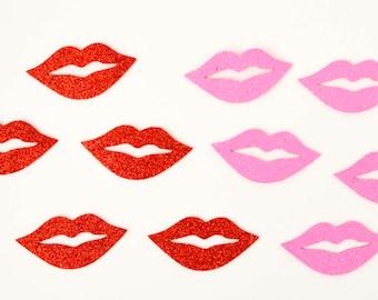 10 PC Pink Red glitter Foam Lips Photobooth Props Photo Assorted Colorful Cut outs Wedding Party Celebrate Fun DIY kit 10 piece