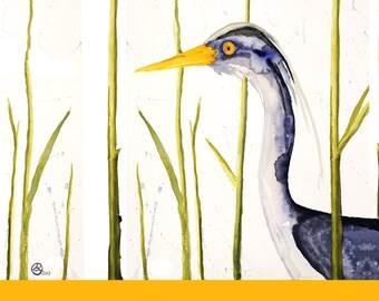 CUSTOM Great Blue Heron Bird Greeting Card~Watercolor Shorebird Ocean Wetlands Migration~Heron for her~Heron for MOM~Customize this card
