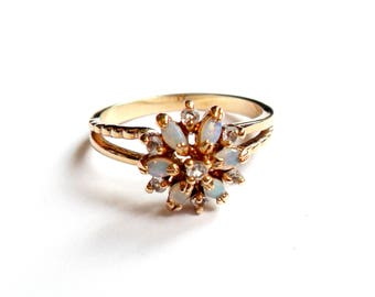 Vintage Faux Opal Rhinestone Ring Size 10 Plus Size Flower Cluster Gold Tone Sparkle Cocktail Statement Ring