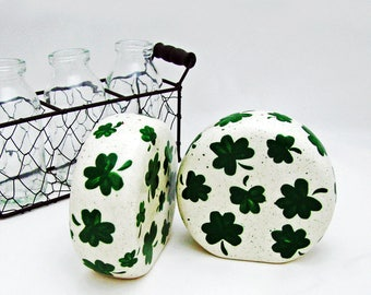 Ceramic Kelly Green Shamrock Salt and Pepper Shakers Hand Painted Irish Clover St. Patrick's Day Celebrations