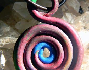 Modern Spiral Polymer Clay Pendant