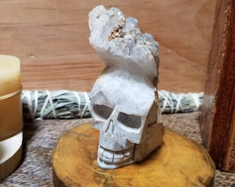 226g Clear Quartz Crystal Cluster Skull Carving
